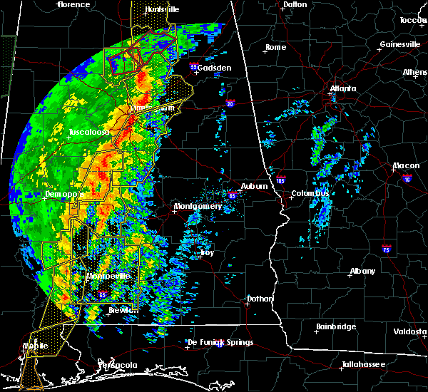 Radar Image for Severe Thunderstorms near Yellow Bluff, AL at 1/11/2020 1:10 PM CST