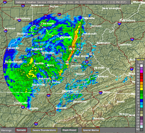 Radar Image for Severe Thunderstorms near Portsmouth, OH at 1/11/2020 2:36 PM EST