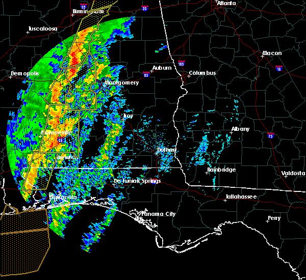 Radar Image for Severe Thunderstorms near Georgiana, AL at 1/11/2020 1:43 PM CST
