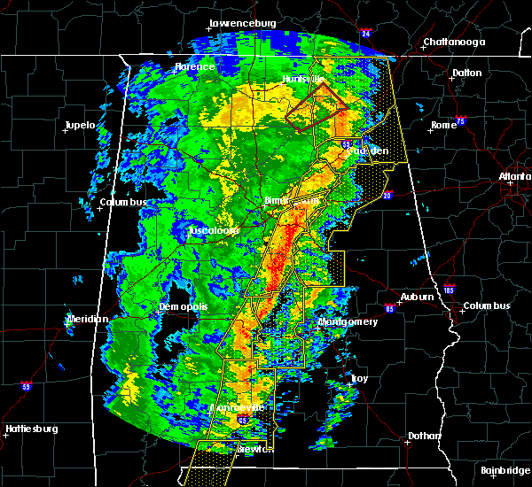 Radar Image for Severe Thunderstorms near Vincent, AL at 1/11/2020 1:50 PM CST