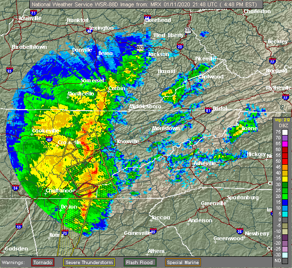 Radar Image for Severe Thunderstorms near Rockford, TN at 1/11/2020 4:53 PM EST