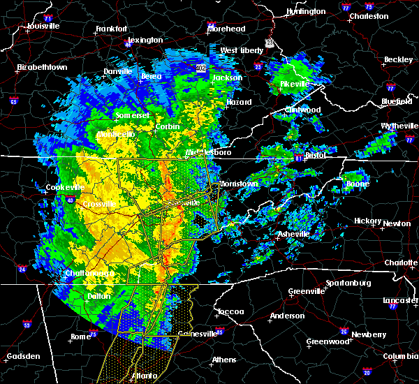 Radar Image for Severe Thunderstorms near Andersonville, TN at 1/11/2020 5:31 PM EST