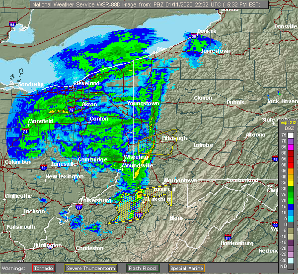 Radar Image for Severe Thunderstorms near Cheat Lake, WV at 1/11/2020 5:34 PM EST
