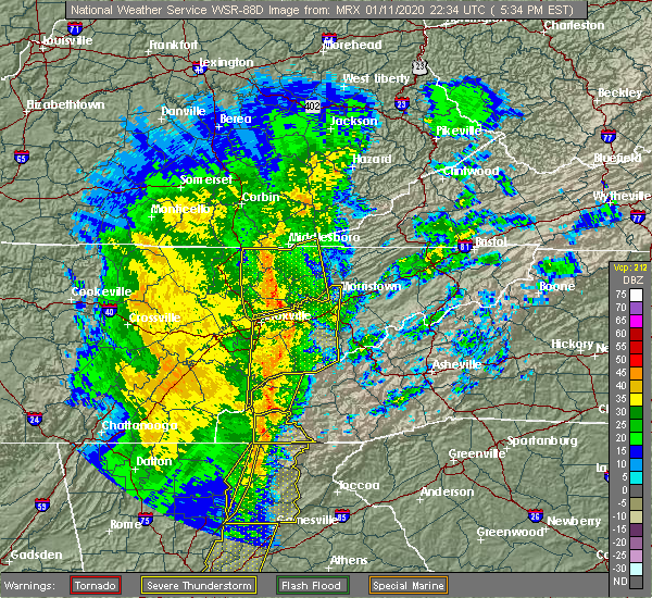 Radar Image for Severe Thunderstorms near Morristown, TN at 1/11/2020 5:40 PM EST