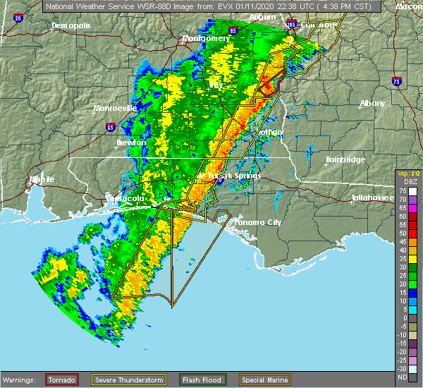 Radar Image for Severe Thunderstorms near Jacob City, FL at 1/11/2020 4:43 PM CST