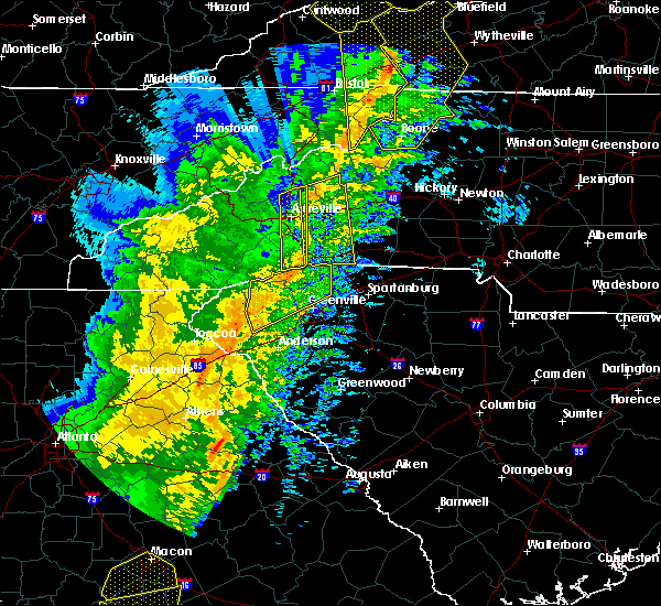 Radar Image for Severe Thunderstorms near Gumlog, GA at 1/11/2020 7:43 PM EST