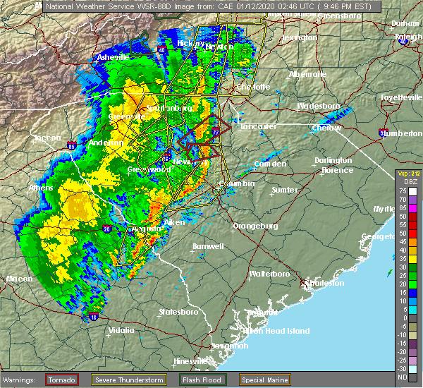 Radar Image for Severe Thunderstorms near Batesburg-Leesville, SC at 1/11/2020 9:49 PM EST