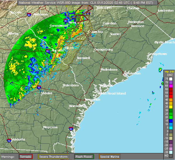 Radar Image for Severe Thunderstorms near Waynesboro, GA at 1/11/2020 9:49 PM EST