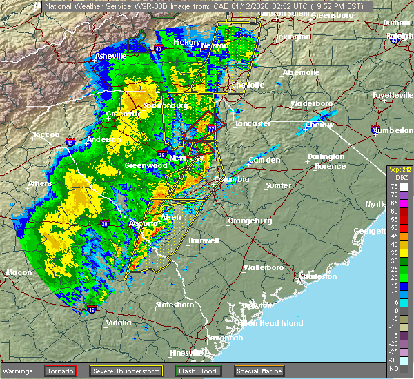 Radar Image for Severe Thunderstorms near Pineville, NC at 1/11/2020 9:58 PM EST