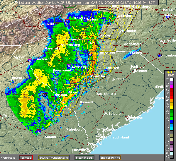 Radar Image for Severe Thunderstorms near Lake Murray of Richland, SC at 1/11/2020 10:05 PM EST