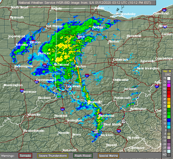 Radar Image for Severe Thunderstorms near St. Paris, OH at 1/11/2020 10:15 PM EST