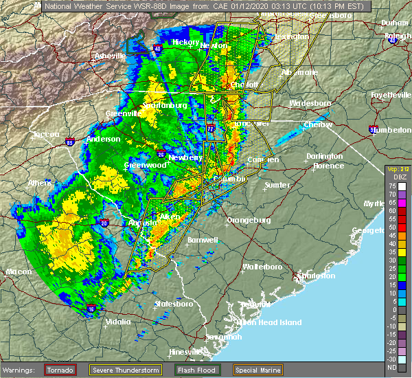 Radar Image for Severe Thunderstorms near Waynesboro, GA at 1/11/2020 10:16 PM EST