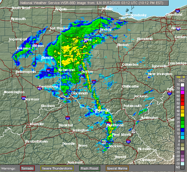Radar Image for Severe Thunderstorms near Fletcher, OH at 1/11/2020 10:21 PM EST