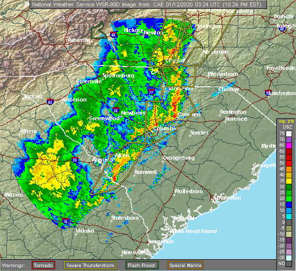 Radar Image for Severe Thunderstorms near Gadsden, SC at 1/11/2020 10:27 PM EST
