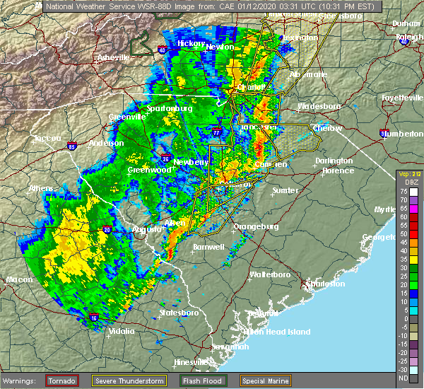 Radar Image for Severe Thunderstorms near Blackville, SC at 1/11/2020 10:35 PM EST
