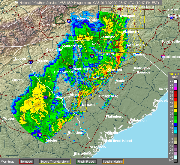 Radar Image for Severe Thunderstorms near Orangeburg, SC at 1/11/2020 10:53 PM EST