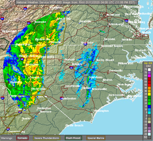 Radar Image for Severe Thunderstorms near Alamance, NC at 1/11/2020 11:14 PM EST