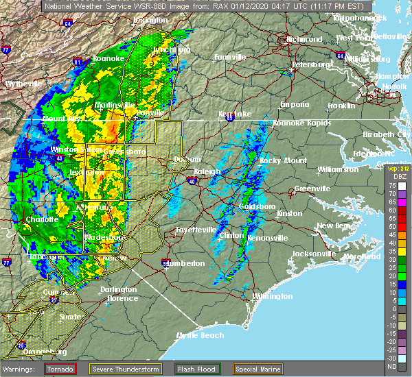 Radar Image for Severe Thunderstorms near Yanceyville, NC at 1/11/2020 11:24 PM EST