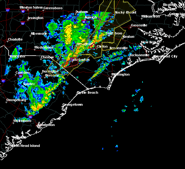 Radar Image for Severe Thunderstorms near Pembroke, NC at 1/12/2020 1:13 AM EST