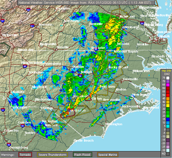 Radar Image for Severe Thunderstorms near Mount Olive, NC at 1/12/2020 1:18 AM EST