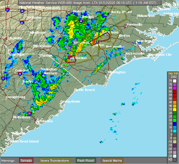 Radar Image for Severe Thunderstorms near Bladenboro, NC at 1/12/2020 1:23 AM EST