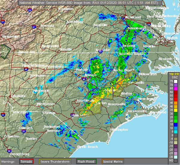 Radar Image for Severe Thunderstorms near Farmville, NC at 1/12/2020 1:54 AM EST