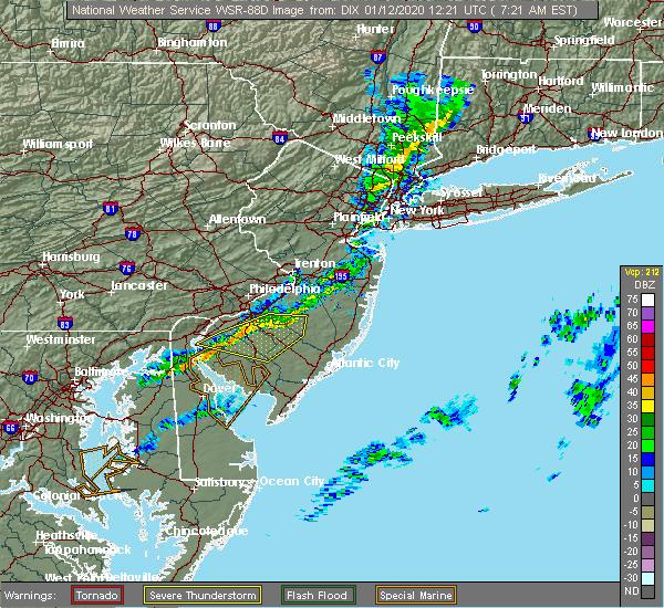 Radar Image for Severe Thunderstorms near Clayton, NJ at 1/12/2020 7:26 AM EST