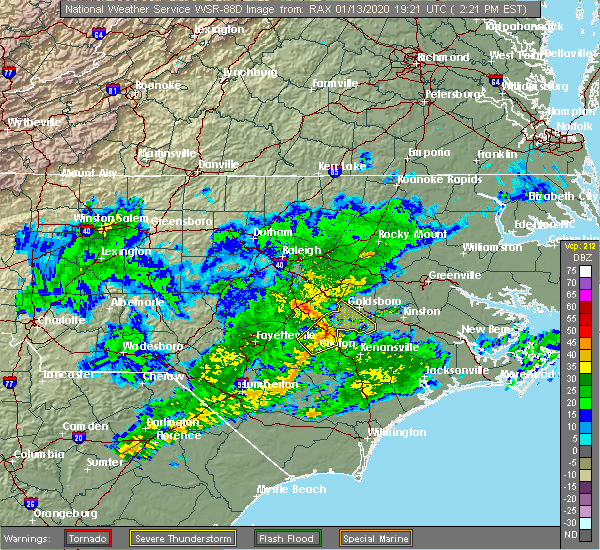 Radar Image for Severe Thunderstorms near Mount Olive, NC at 1/13/2020 2:25 PM EST