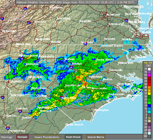 Radar Image for Severe Thunderstorms near Mount Olive, NC at 1/13/2020 2:32 PM EST