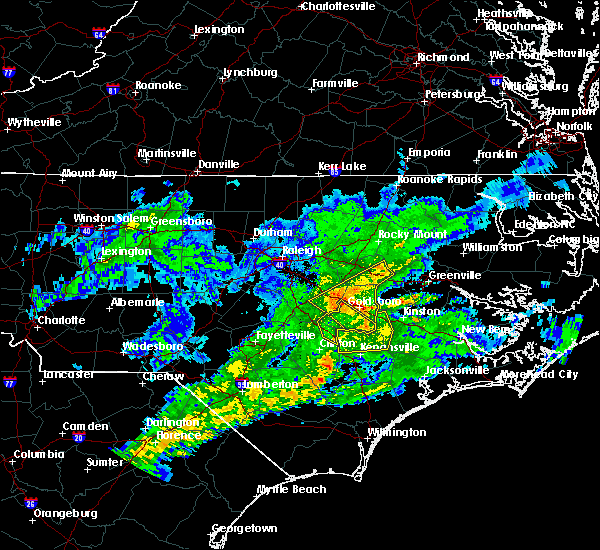Radar Image for Severe Thunderstorms near Mount Olive, NC at 1/13/2020 2:53 PM EST