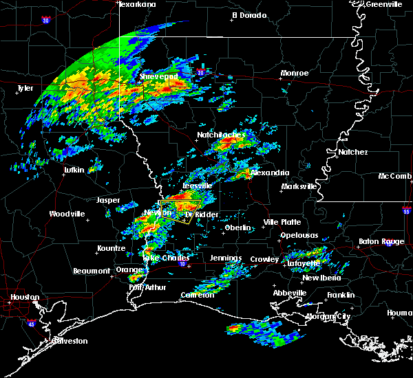 Radar Image for Severe Thunderstorms near Leesville, LA at 2/5/2020 11:23 AM CST