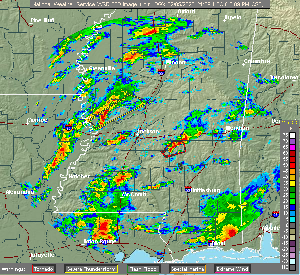 Radar Image for Severe Thunderstorms near New Hebron, MS at 2/5/2020 3:13 PM CST