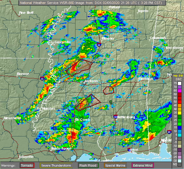 Radar Image for Severe Thunderstorms near Newton, MS at 2/5/2020 3:36 PM CST