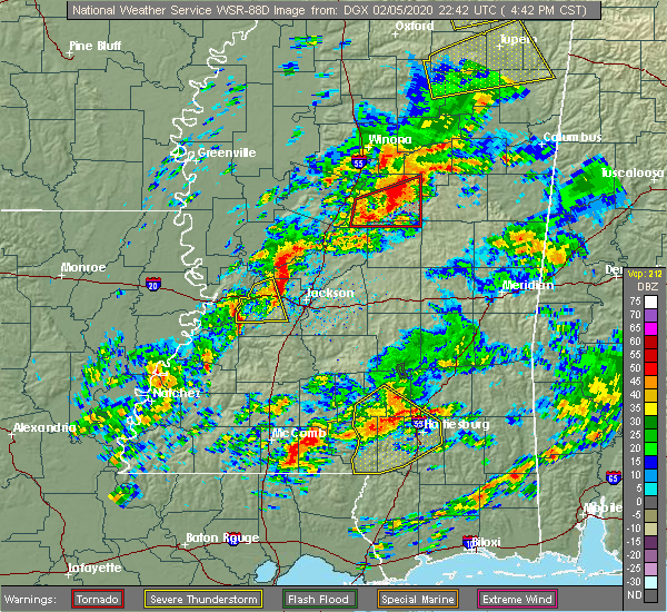 Radar Image for Severe Thunderstorms near Glendale, MS at 2/5/2020 4:44 PM CST