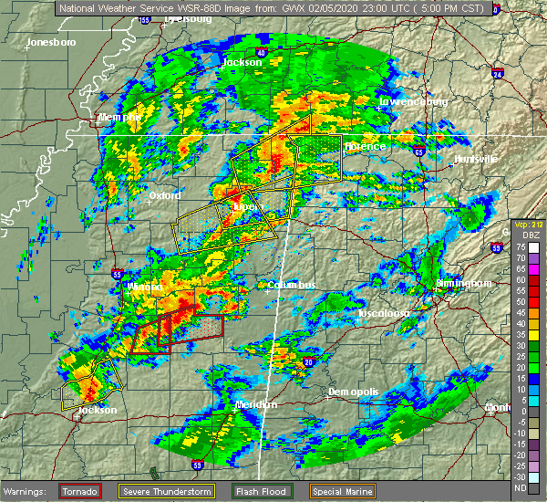 Radar Image for Severe Thunderstorms near Corinth, MS at 2/5/2020 5:05 PM CST