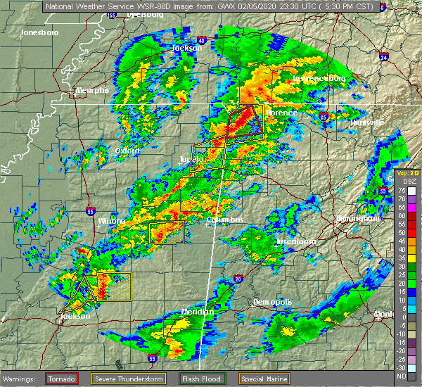 Radar Image for Severe Thunderstorms near Mississippi State, MS at 2/5/2020 5:34 PM CST