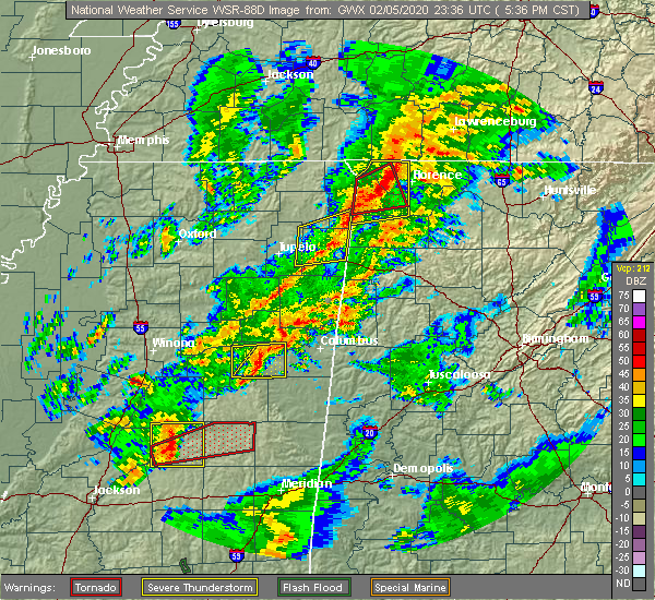 Radar Image for Severe Thunderstorms near Mississippi State, MS at 2/5/2020 5:44 PM CST