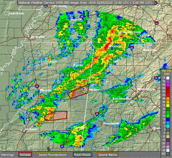 Radar Image for Severe Thunderstorms near Mississippi State, MS at 2/5/2020 5:52 PM CST