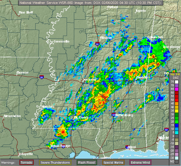Radar Image for Severe Thunderstorms near Bay Springs, MS at 2/5/2020 10:36 PM CST