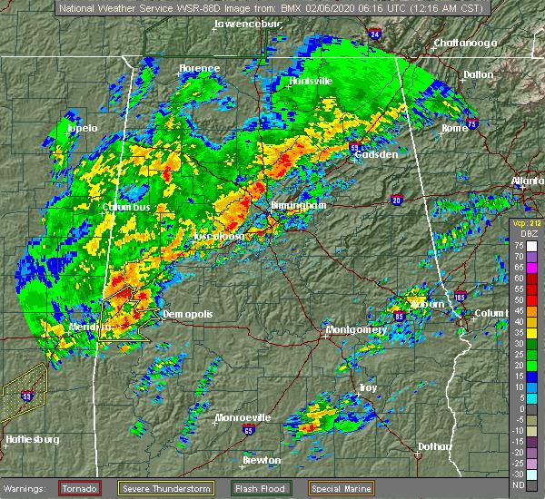 Radar Image for Severe Thunderstorms near Bellamy, AL at 2/6/2020 12:18 AM CST