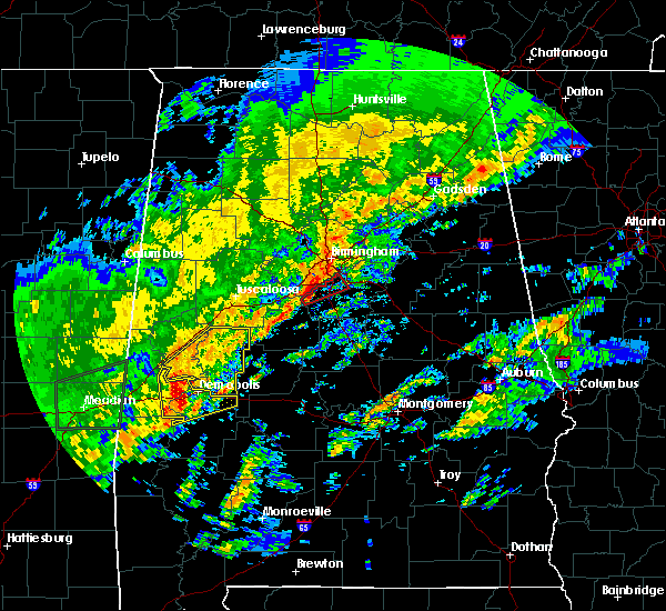 Radar Image for Severe Thunderstorms near Meadowbrook, AL at 2/6/2020 2:02 AM CST