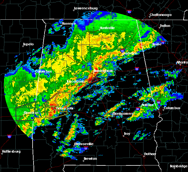 Radar Image for Severe Thunderstorms near Meadowbrook, AL at 2/6/2020 2:13 AM CST
