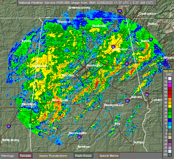 Radar Image for Severe Thunderstorms near Mount Olive, AL at 2/6/2020 5:41 AM CST