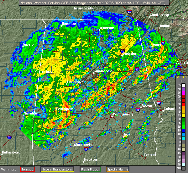 Radar Image for Severe Thunderstorms near Mount Olive, AL at 2/6/2020 5:52 AM CST