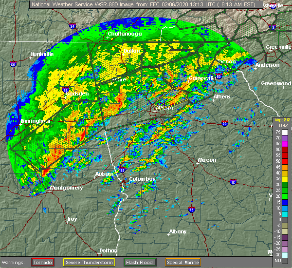 Radar Image for Severe Thunderstorms near Russell, GA at 2/6/2020 8:19 AM EST