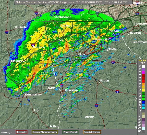 Radar Image for Severe Thunderstorms near Russell, GA at 2/6/2020 8:31 AM EST