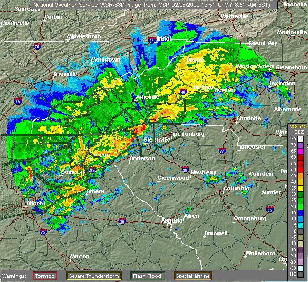 Radar Image for Severe Thunderstorms near Travelers Rest, SC at 2/6/2020 9:04 AM EST