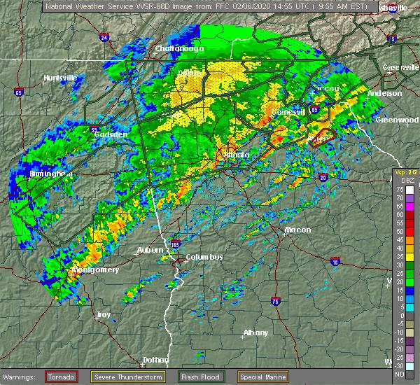 Radar Image for Severe Thunderstorms near Bethlehem, GA at 2/6/2020 10:01 AM EST