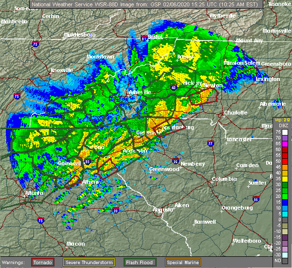 Radar Image for Severe Thunderstorms near Spartanburg, SC at 2/6/2020 10:27 AM EST