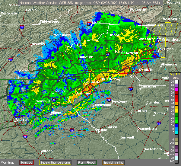 Radar Image for Severe Thunderstorms near Ware Shoals, SC at 2/6/2020 11:11 AM EST